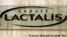 The logo of Groupe Lactalis is seen as Head of Communication & External Relations, Michel Nalet attends a press conference in Paris, Thursday, Jan. 11, 2018. French President Emmanuel Macron has criticized French diary giant Lactalis after major supermarkets admitted this week that baby food recalled over fears of salmonella contamination still made it onto French shelves. (AP Photo/Francois Mori) |
