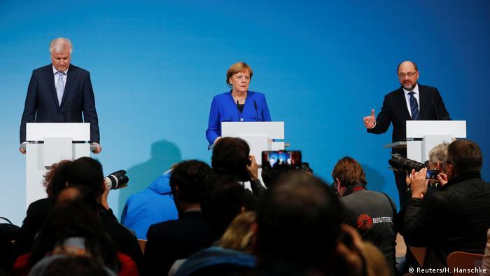 Seehoer, Merkel e Schulz anunciam compromisso alcançado por eles em Berlim