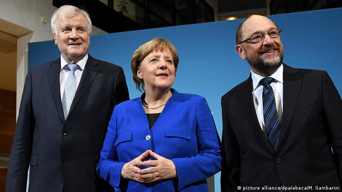 Horst Seehofer, Angela Merkel and Martin Schulz at coalition talks in Berlin