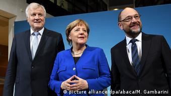 Хорст Зеехофер, Ангела Меркель и Мартин Шульц 12.01.2018