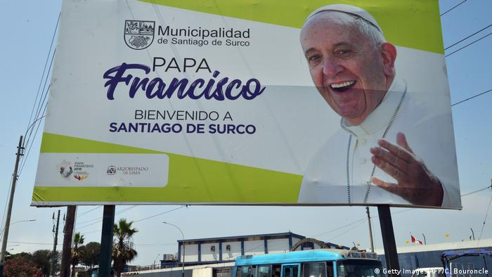 A billboard welcoming Pope Francis is seen near Las Palmas Air Force Base in Lima's district of Santiago de Surco AFP PHOTO / Cris BOURONCLE