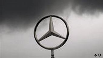The Mercedes star under storm clouds