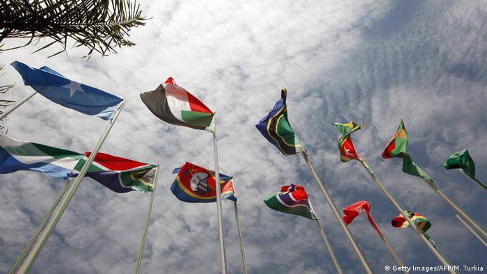 Flags of African Union members flying at a 2010 summit in Uganda