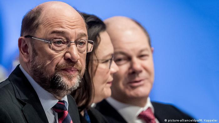 Liderii social-democraţi Martin Schulz, Andrea Nahles şi Olaf Scholz