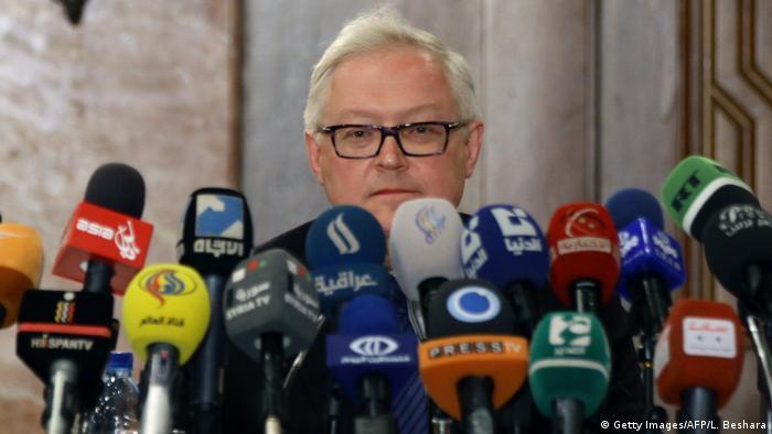 Syrien Sergei Ryabkov stellvertretender russischer Außenminister in Damaskus (Getty Images/AFP/L. Beshara)