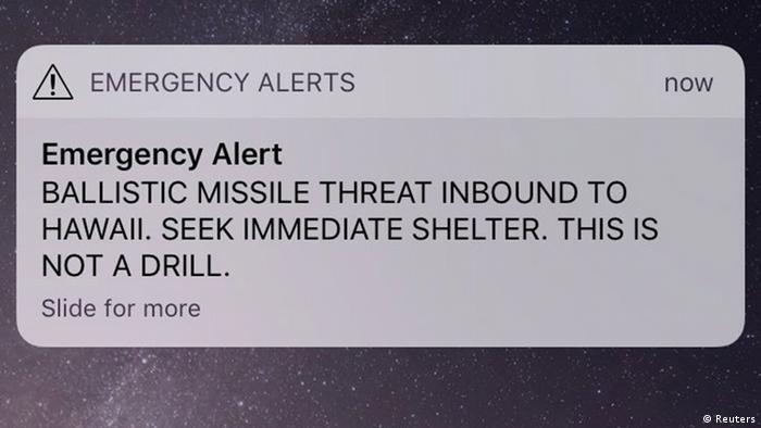 USA | Falschmeldung - nordkoreanischer Rakentenangriff auf Hawaii (Reuters)