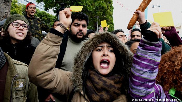 Protesters in Tunisia (Adele Ezzine)