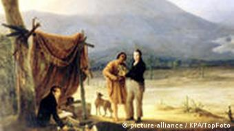 Painting of Humboldt and Bonpland in the Andes