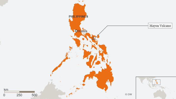 Map showing location of Mount Mayon