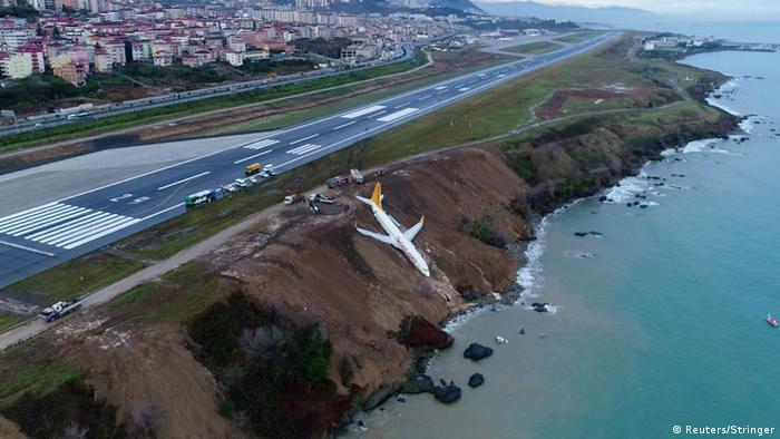 Turkish passenger plane skids off runway metres away from sea