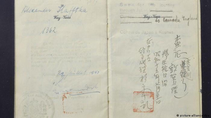 Original visa by Japan's Schindler