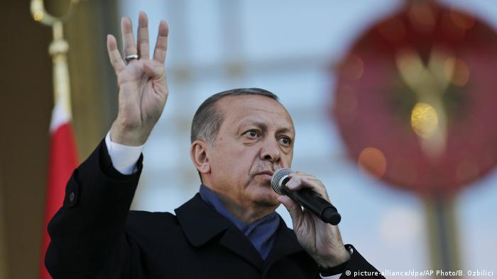 Turkey's President Recep Tayyip Erdogan, delivers a speech during a rally of supporters