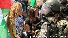 RAMALLAH, WEST BANK (ARCHIVE) : A file photo dated 4 September, 2015 shows Palestinian girl Ahed al-Tamimi (L) during a protest against discrimination wall and Jewish settlements in Ramallah, West Bank. Israeli forces on Tuesday detained a 16-year-old Palestinian girl during an overnight raid in the occupied West Bank. Ahed al-Tamimi was taken into custody after Israeli forces raided her home in Nabi Saleh village in the northern West Bank, her father said. Issam Rimawi / Anadolu Agency |