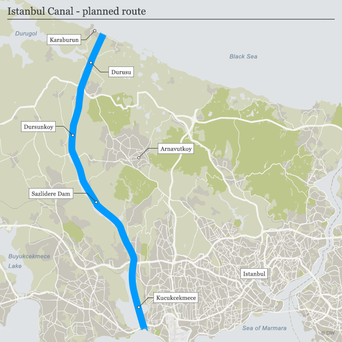 Map Istanbul Canal - planned route ENG