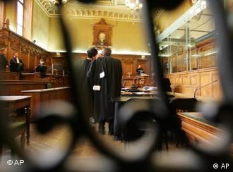 Lawyers in the Paris criminal court before the start of the trial.