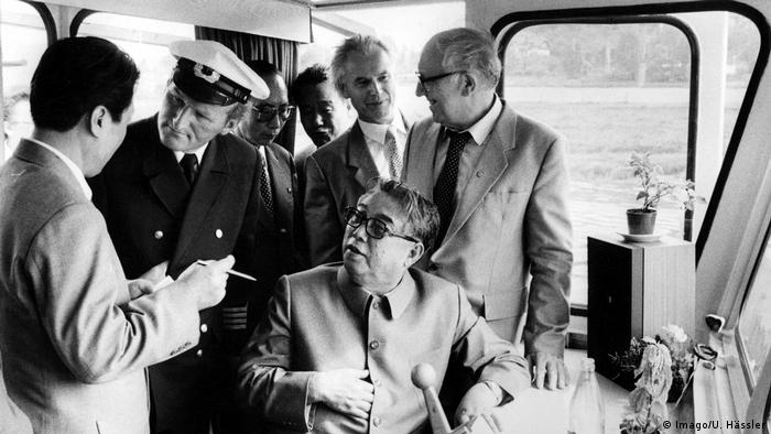 Kim Il Sung with Hans Modrow (a top SED official in Dresden) and others in Dresden, on June 15, 1984.