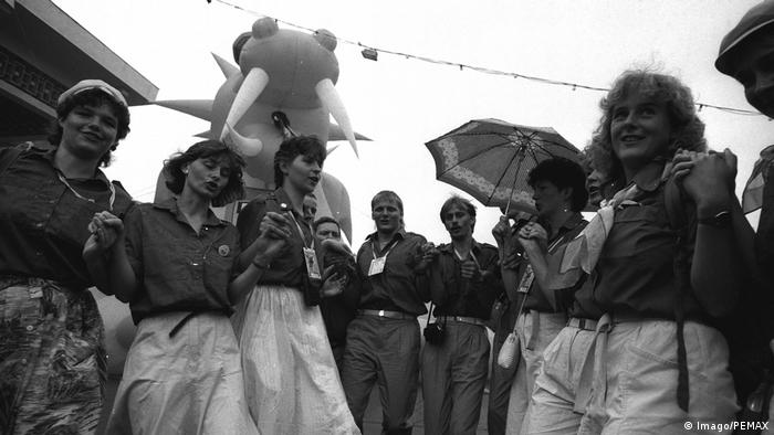 May 1989, months before the Wall would fall in Berlin, members of the East German socialist youth group FDJ dance on a visit to Pyongyang's World Festival fo Youth and Students. (Imago/PEMAX)