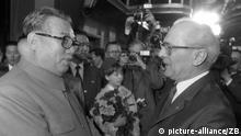 Erich Honecker and Kim Il Sung, as Honecker greets Kim at East Berlin's Ostbahnhof train station. (picture-alliance/ZB)