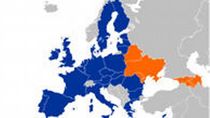 EU and Eastern Partnership countries on the map of Europe