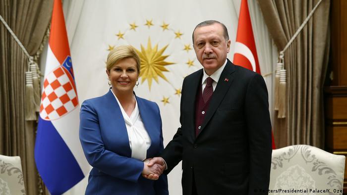 Türkei Ankara - Der türkische Präsident Erdogan mit der Kroatischen Präsidentin Kolinda Grabar-Kitarovic