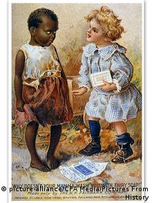 An ad for soap from 1910 showing a black and a white girl