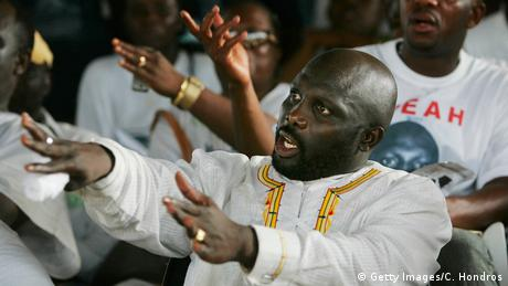 George Weah during an election campagin rally in 2005 (Getty Images/C. Hondros)