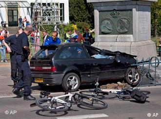 Wrecked car after it crashed into a monument
