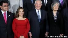 Kanada, US-Außenminister Tillerson und Kyung-wha während des Außenministertreffens zu Sicherheit und Stabilität auf der koreanischen Halbinsel in Vancouver