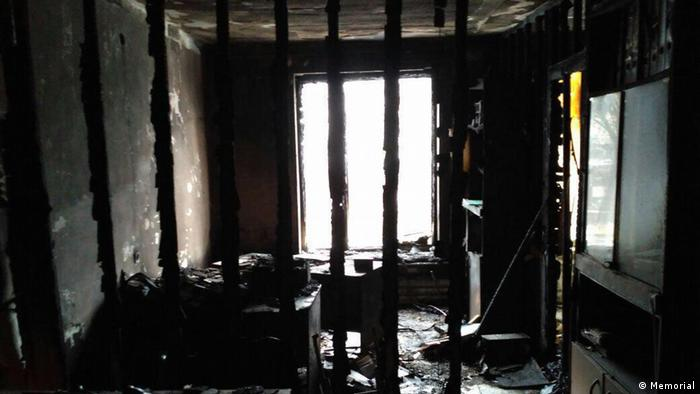 Torched office of Memorial in Nazran