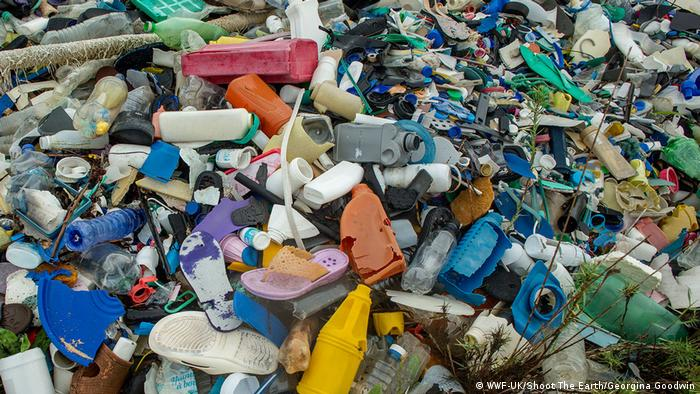 A large pile of plastic waste (WWF-UK/Shoot The Earth/Georgina Goodwin)