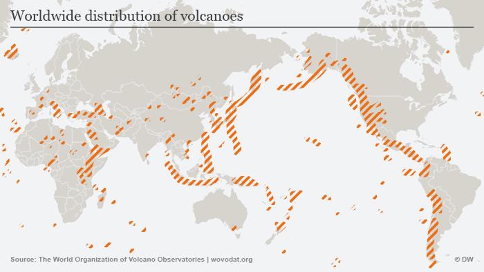 Infografik Vulkane Verbreitung weltweit ENG