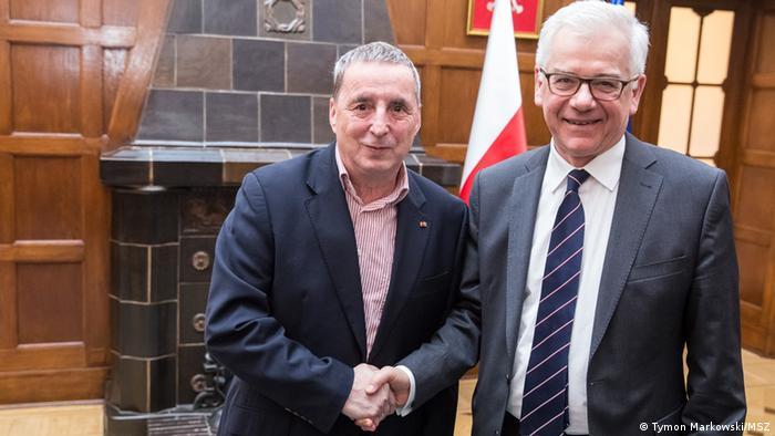 Wolfgang Templin (z l.) i Jacek Czaputowicz w Ambasadzie RP w Berlinie, styczeń 2018