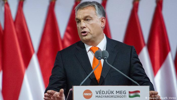 Hungarian Prime Minister Viktor Orban delivers a speech after being reelected as the president of the party Fidesz in Budapest,