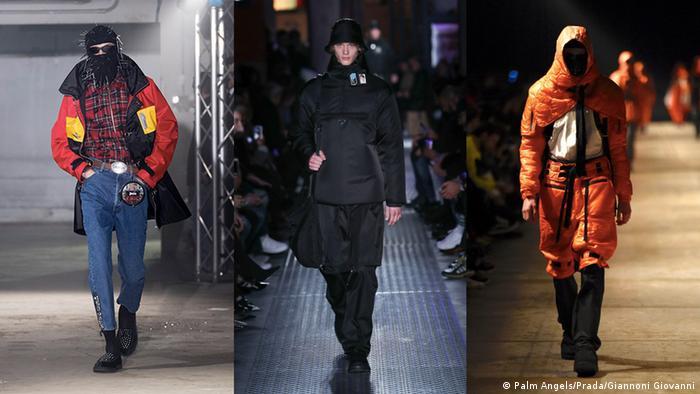 Three models presenting designs during Men's Fashion Weeks (Palm Angels/Prada/Giannoni Giovanni)
