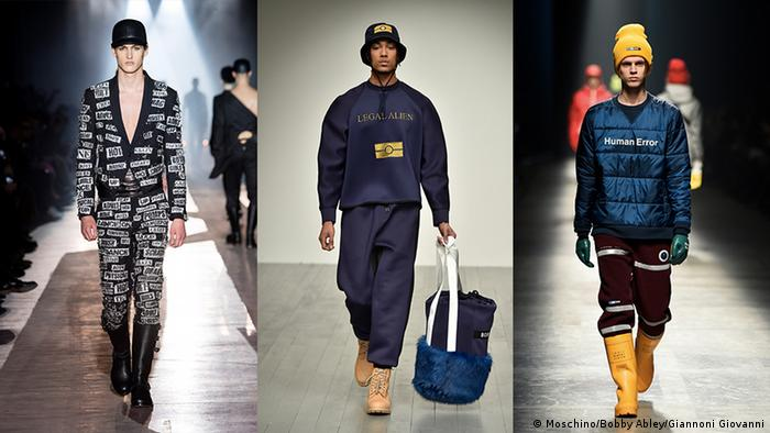 Three models presenting designs during Men's Fashion Weeks (Moschino/Bobby Abley/Giannoni Giovanni)