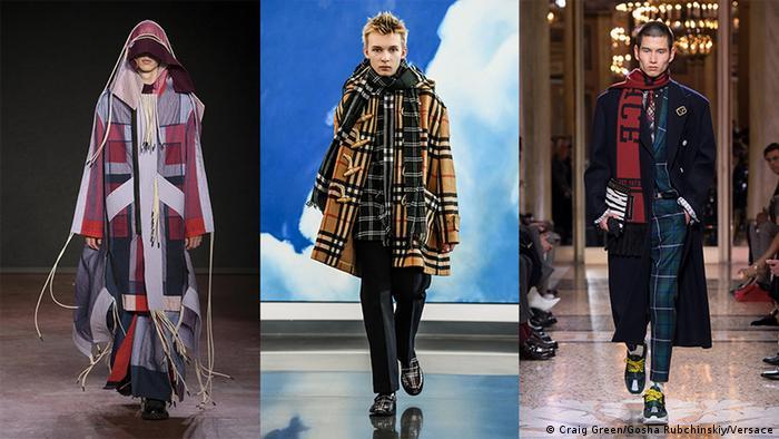 Three models presenting designs during Men's Fashion Weeks (Craig Green/Gosha Rubchinskiy/Versace)