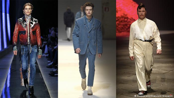 Three models presenting designs during Men's Fashion Weeks (Dsquared2/Giannoni Giovanni)