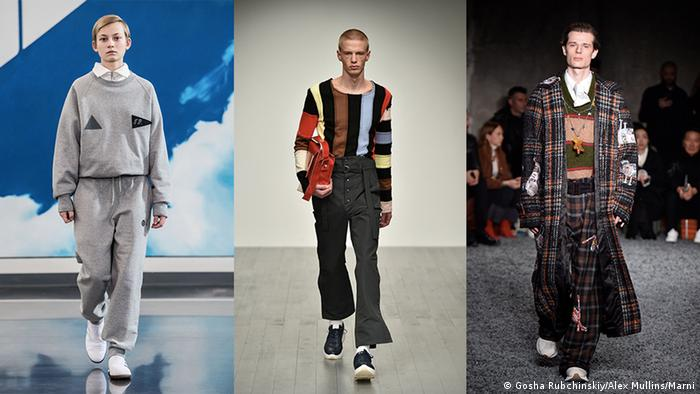 Three models presenting designs during Men's Fashion Weeks (Gosha Rubchinskiy/Alex Mullins/Marni)