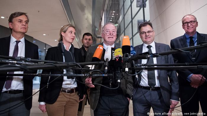 Bundestag Mitglieder der AfD-Bundestagsfraktion Baumann, Weidel, Gauland, Braun und Braun (picture alliance/dpa/B. von Jutrczenka)