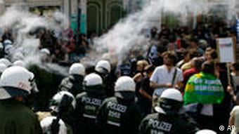 Riot police and May Day demonstration in Berlin