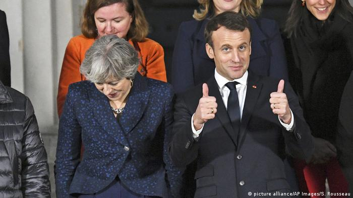 May und Macron (picture alliance/AP Images/S. Rousseau)