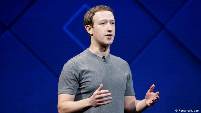 Mark Zuckerberg speaking onstage during a developers conference