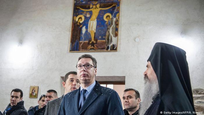 Vučić i Teodosije u manastiru Banjska na Kosovo (januar 2018)