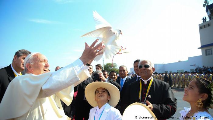 Pope Francis releases a dove