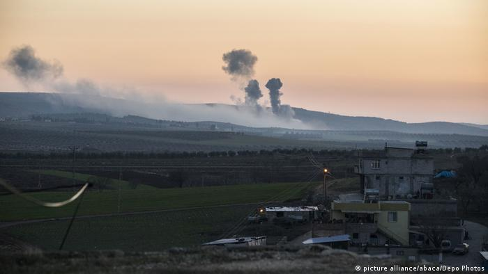 Smoke rises up in Afrin after Turkey begins airstrikes there
