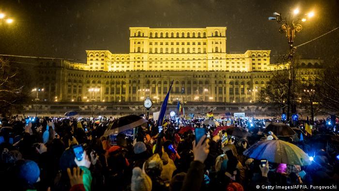 Акция протеста в Бухаресте 20 января 2018 года
