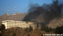 Smoke rises from the Intercontinental Hotel during an attack in Kabul, Afghanistan January 21, 2018. REUTERS/Mohammad Ismail
