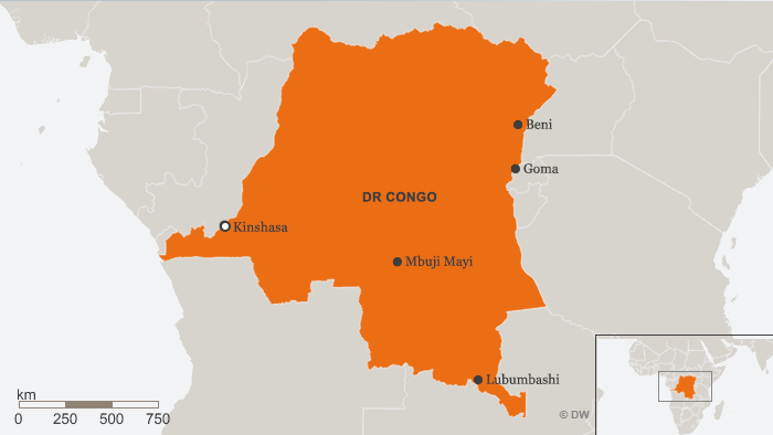 Map of the DR Congo shows the location of the capital, Kinshasa, as well as the cities of Beni, Goma, Lubumbashi and Mbuji Mayi.