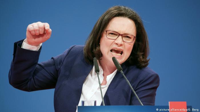 Außerordentlicher SPD-Parteitag SPD-Fraktionsvorsitzende im Bundestag Andrea Nahles