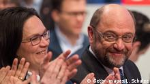 21.01.2018 +++ BONN, GERMANY - JANUARY 21: Andrea Nahles, head of the Bundestag faction of the German Social Democrats (SPD), Martin Schulz, head of the German Social Democrats (SPD), react after winning the voring at the SPD federal congress on January 21, 2018 in Bonn, Germany. The SPD is holding the congress to decide on whether to join the German Christian Democrats (CDU/CSU) in a new German coalition government. Recent preliminary talks between the SPD, the CDU and the CSU finished with enough support from party leaderships to launch negotiations, though the SPD still needs the approval of its party base. Many SPD members have warned against the coalition and would rather see the party remain in the opposition. (Photo by Lukas Schulze/Getty Images)